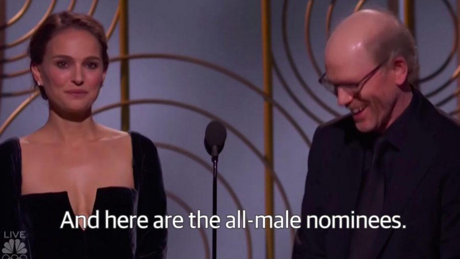 Natalie+Portman+at+the+Golden+Globes+2018+announcing+the+best+director+nominees.+Upon+naming+the+nominees+she+presented+them+as+%E2%80%9CAnd+here+are+the+all-male+nominees.%E2%80%9D+Photo+courtesy+of+time.com.