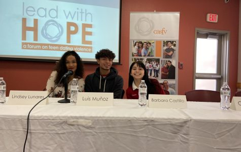 Junior Barbara Castillo alongside Lindsey Lunares and Luis Munoz on the panel. They were asked questions ranging from preventative measures to incidents witnessed. Photo courtesy of author.