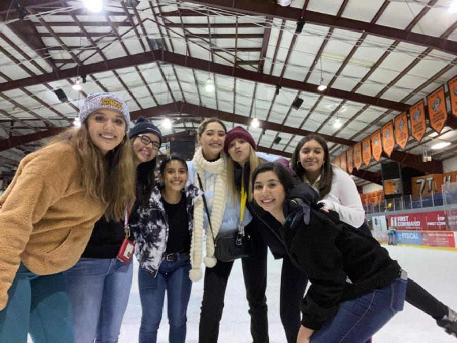 Seniors+Madison+Leyva%2C+Elisa+Ibarbo%2C+Mia+Hernandez%2C+Jacqueline+Porras%2C+Anneliese+Gil%2C+Ashley+Leyva%2C+and+Alejandra+Urbina+celebrating+Senior+Ditch+Day+at+the+ice+rink.+They+enjoyed+a+day+of+bonding%2C+ice+skating%2C+and+smiles.+Photo+courtesy+of+Mia+Hernandez.%0A