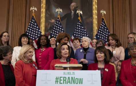 Speaker of the House Nancy Pelosi along with other members of Congress fighting to renew the deadline for the Equal Rights Amendment (ERA). If ratified, the ERA would provide for complete gender equality under the law. Photo courtesy of NPR.