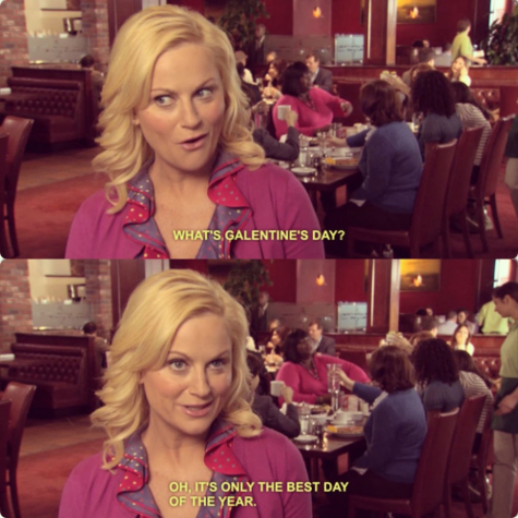 Leslie Knope, Amy Poehler's character from Parks and Recreation, discusses Galentine's Day. Photo courtesy of geekgirlcon.com.