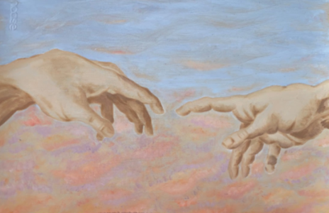 """Junior Saralie Buendia drew her take on hands. Buendia said about the colorful background, """"I based the sunset off of El Paso."""