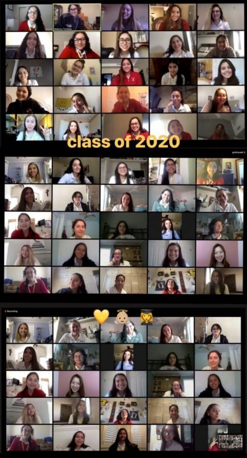 The+class+of+2020+having+a+Zoom+meeting+together+to+celebrate+Loretto.+They+dressed+in+their+uniforms+as+a+part+of+SHOUT+week.+Photo+courtesy+of+Mia+Hernandez.