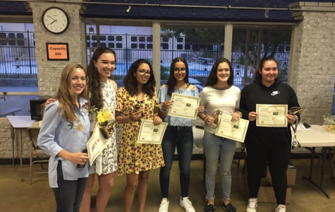 Last year's tennis team smiling at the sports banquet in 2019. The sports banquet was one of the many activities that were canceled as well. Photo courtesy of Victoria Chiu.
