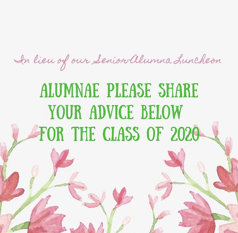 Loretto+Alumni+left+advice+for+the+graduating+class+of+2020.+This+advice+came+as+a+substitution+for+the+Senior-Alumna+Luncheon+hosted+by+Loretto+annually.+Photo+courtesy+of+Loretto+Academy+Instagram.
