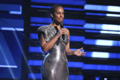 Alicia Keys speaking at the 62nd Grammy Awards Ceremony. The Grammys having her for a second time as host of the show, is a huge step towards gender equality. Photo Courtesy by Matt Sayles